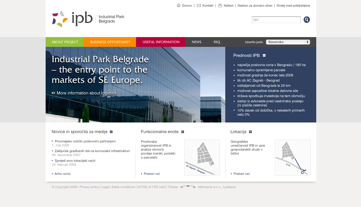 Industrial Park Belgrade Website Design