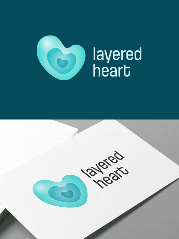 layered heart logotype cubio visual solutions quality graphic